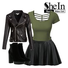 """""""Black skirt #001"""" by stark-mclearen ❤ liked on Polyvore featuring WithChic, LE3NO, Hogan, shine, BlackSkirt, shein and sheout"""