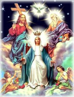 The Holy Trinity and Mary our Queen.