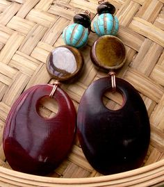 African Lady Tribal Turquoise & Ceramic Earrings  by stoneandbone, $35.99