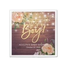 Rustic Wood Peach Floral String Lights Baby Shower Napkin - rustic gifts ideas customize personalize