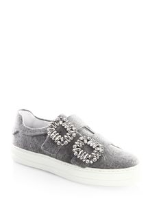 ROGER VIVIER Crystal Strass Buckle Sneakers. #rogervivier #shoes #