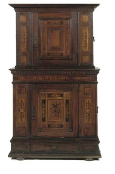 A SOUTH GERMAN WALNUT AND FRUITWOOD MARQUETRY CUPBOARD ULM, 19TH CENTURY, THE MARQUETRY 17TH CENTURY