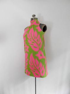 Neon Pink and Green Mini Dress/Tropical by rileybella123 on Etsy, $56.00