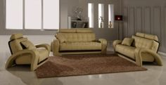 Amazing Beige Leather Sofa