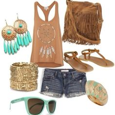 Hippie style! wanna all that stuff :( i only have had one earrings like that.
