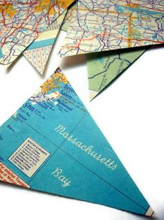 Vintage Map Garland Mini and Sweet by MontclairMade on Etsy - going away party