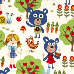 white Michael Miller fabric kawaii bears girl tree  designer fabric with many blue bears, girls, animals & trees from the USA