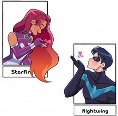 Robin Starfire, Nightwing And Starfire, Teen Titans Fanart, Teen Titans Go, Redhood And The Outlaws, Aquaman Dc Comics, Cartoon Network Shows, Dc World, Popular Cartoons