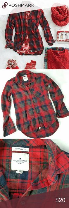 AEO Boyfriend Flannel Red, blue and gray plaid flannel top. Incredibly soft and comfortable, a winter closet staple for layering!  Excellent gently preloved condition with no rips, holes or stains. Minor pilling from normal wash and wear. See photos. As is.  No holds, trades or off-posh transactions. American Eagle Outfitters Tops Button Down Shirts