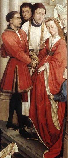Seven Sacraments (right wing) (detail), 1445-1450, by Rogier van der Weyden (Belgian, 1400-1464).