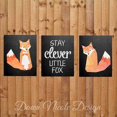 Nursery decor, Clever fox theme. Nursery prints for childs room or nursery.