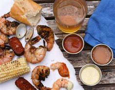 Grilled low country boil.  This site includes three sauce recipes and  ideas for beverages.