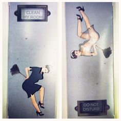 LOVE IT!!! The clever do-not-disturb/clean-my-room door hanger at Town Hall Hotel, London.