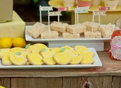Lemonade Stand Treats use the football cutter for yellow and green lemons and do pink circles