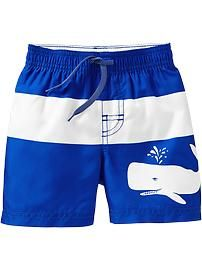 Color-Blocked Graphic Swim Trunks for Baby