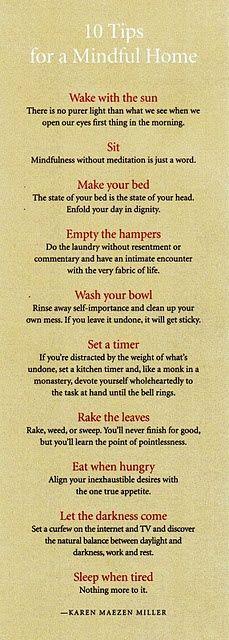 10 Tips for a Mindful Home by meditation author, Karen Maezen Miller