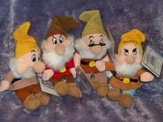 Lot of 4 7 Dwarfs Bean Bag Dolls Disney Store Sneezy Grumpy Doc Happy NWT $9.99