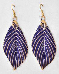 Blue Leaf Earrings $7