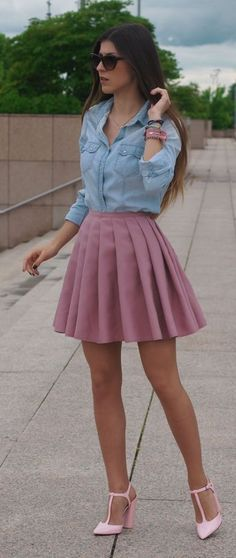 88f969c2d5 66 Best Pastel pink skirt images in 2018 | Moda femenina, Pleated ...