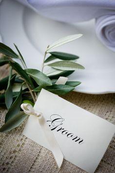Olive branch + ribbon + escort card