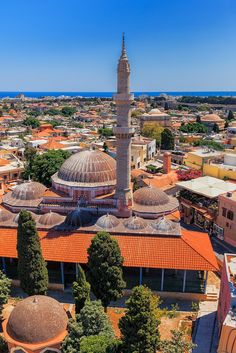 Rhodes, Greece - rooftop restaurant bottom right.