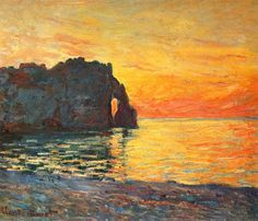 Claude Monet. Etretat, Cliff of d`Aval, Sunset (1885).
