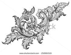 Vintage Baroque Frame Leaf Scroll Floral Ornament Engraving Border ...