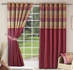 Looking for curtains that are a deep red (burgandy/maroon-ish) that also have yellow and/or green. 1970s Decor, Living Room Decor, Bedroom Decor, Satin Bedding, Blue Duvet, Minimalist Room, Modern Curtains, Best Mattress, How To Make Bed