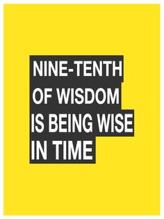 Nine-tenths of wisdom is being wise in time. -Theodore Roosevelt