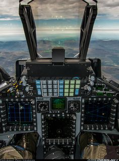 BAE Systems Hawk RAF / H (cn Taken while airborne in the front seat of a Hawk showing Sensor Sim and TCAS Jet Fighter Pilot, Fighter Jets, Military Jets, Military Aircraft, Air Machine, Aircraft Interiors, Air Space, Flight Deck, Aircraft Pictures