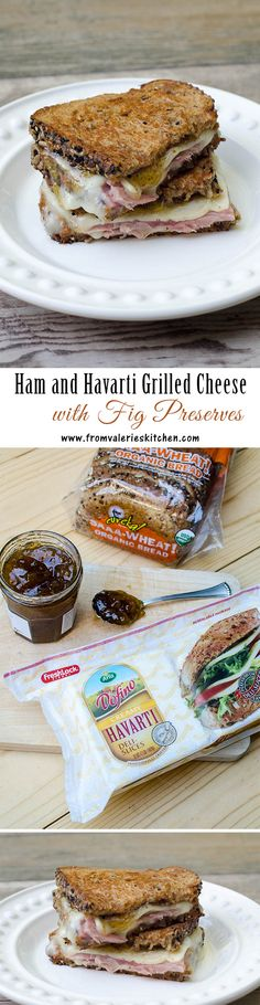 Ham and Havarti Grilled Cheese with Fig Preserves: The saltiness of the ham, the creaminess of the Havarti, and the sweetness of the fig preserves.it works! Fig Recipes, Kitchen Recipes, Organic Recipes, Valerie's Kitchen, Yummy Recipes, Pizza Sandwich, Grilled Sandwich, Soup And Sandwich, Recipes