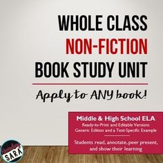 Non-Fiction book study/unit - apply to any text - for middle and high school English class!