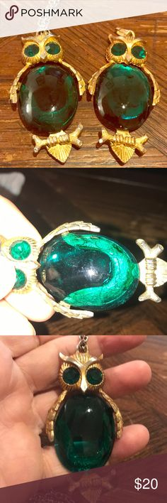 """Pair of vintage jelly belly style owl pendants One has the foil backing removed and the other it is partially intact. When worn on a darker blouse it won't show and just look emerald green. Glass in overall good condition. One had a 24"""" chain. Can wear or use for a cool art project. Not marked Vintage Jewelry Necklaces"""