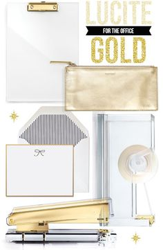 Dress up your desk with these lucite + gold accessories. So chic! #lucite #acrylic #gold