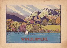 Retro Windemere - Vintage Style Poster Original graphic poster art designed in The Northern Line studio in Ulverston, Cumbria. We ship worldwide. #thelakedistrict #posters #graphicart
