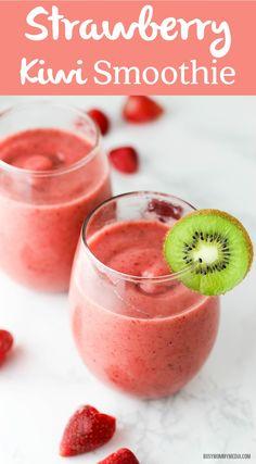 Strawberry Kiwi Smoothie - This smoothie is the perfect way to start the day! Strawberry Kiwi Smoothie – This smoothie is the perfect way to start the day! The kiwi adds a bea Strawberry Kiwi Smoothie, Fruit Smoothie Recipes, Healthy Smoothies, Healthy Drinks, Green Smoothies, Juice Recipes, Nutrition Drinks, Healthy Eats, Strawberry Lemonade