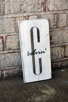 Housewarming gift - Great entryway or gallery sign! - Monogram with Last Name Overlay | SignsByAndrea.com
