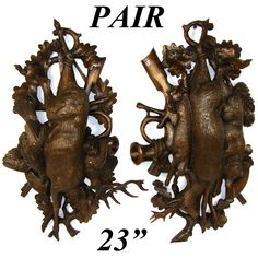 """RARE PAIR Antique Black Forest Carved 23"""" Wall Plaque PAIR…"""