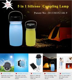 5 in 1 silicone camping lamp  Description:  * solar charge  * foldable functiom  * mobile charger included   * camping lamp  * hand warmer www.ideagroupigm.com