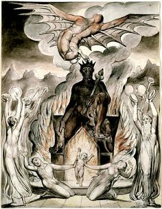 """""""IN THE BELLY OF MOLOCH, THE CHILD MUST BURN…"""" William Blake The Flight of Moloch, watercolour, 25.7 x 19.7 cm. 1809 """"As a god, Moloch was part of cult worship which revolved around a kind of propitiatory child sacrifice system where the children were offered by the parents themselves in a honour ceremony to the god. This kind of sacrifice was void of any edged knives or weapons, but instead gave homage to fire which was connected with Moloch."""" Submitted bygvs..."""
