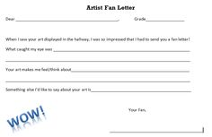 Mrs. Knight's Smartest Artists: Fan letters for student artists http://dolvinartknight.blogspot.com/2013/09/fan-letters-for-student-artists.html