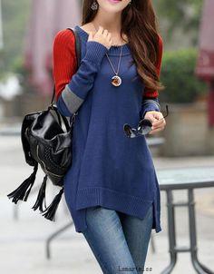 Blue cotton sweater knitwear knitted sweater Turtleneck loose sweater tops long women sweater dress  B7 on Etsy, $42.95