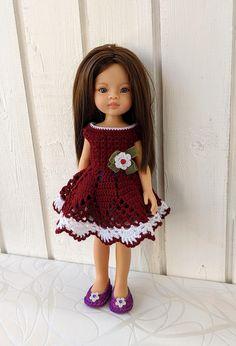 "Clothes for dolls Paola Reina doll 12""/32 cm crochet dress for doll clothing for doll Barbie Clothes, Barbie Dolls, Crochet Cardigan, Crochet Hats, Doll Shop, Dress With Cardigan, Handmade Dresses, Dress Making, Curvy"