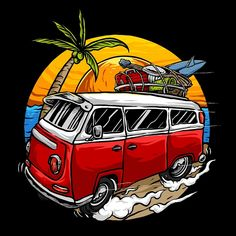 Holiday vintage car with sunset in the beach background vector PNG and PSD Desenhos Old School, Hippie Vintage, Häkelanleitung Baby, Retro Bus, Vintage Compass, Beach Background, Dream Background, Vw Camper, Vw Bus