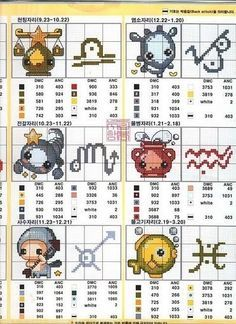laboresdeesther Punto de cruz gratis : enero 2011 cross stitch zodiac libra, Capricorn, Scorpio, Aquarius, Sagittarius, Pisces