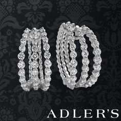 14k White Gold and Diamond Triple Row Hoops
