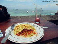 Omelet with watermelon fresh  in Lembongan