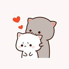 Sweet Grey Kitty Kissing White Kitty
