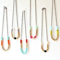 Colorful Bead Strand Necklace by NestPrettyThingsShop on Etsy