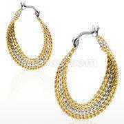 #2698-25 Stainless Steel Gold IP Dual Tone Hoop Earrings